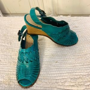 TEAL WOVEN LEATHER HUARACHE WEDGE SHOES